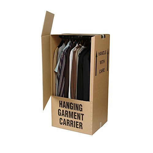 A wardrobe carton and rail packaging solution from Macfarlane Online